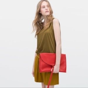 Zara Red Genuine Leather Oversized Envelope Clutch